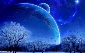 деревья, снег, фэнтези, планеты, птицы, небосвод, голубые
