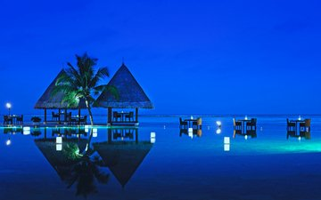 the evening, sea, stay, resort, restaurant, tropics, the maldives