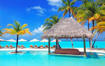 sea, beach, pool, stay, resort, tropics, the maldives