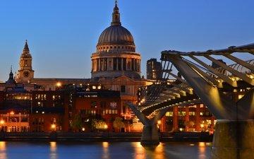 великобритания, лондон, темза, англия, сумерки, st pauls cathedral, собор святого павла, мост тысячелетия