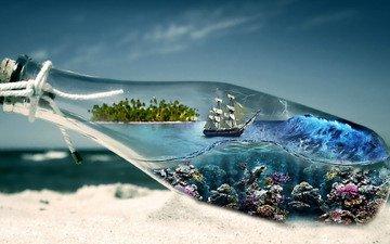 plants, storm, wave, sailboat, island, bottle, underwater, tube, reefs