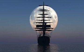 небо, корабль, луна, океан, мачты, 3d-графика