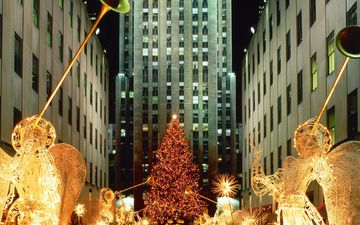 рождество, new york city, christmas at rockefeller center, нью - йорк