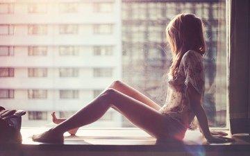 girl, window, sill