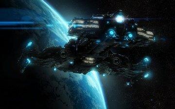 stars, planet, battlecruiser