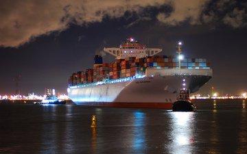 ночь, огни, море, корабль, город, порт, буй, буксиры