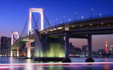 фонари, огни, мост, япония, мегаполис, залив, освещение, выдержка, японии, токио, столица, bridge-buildings