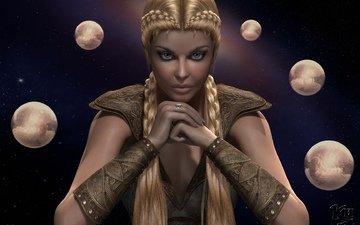 арт, девушка, звезды, планеты, руки, косы
