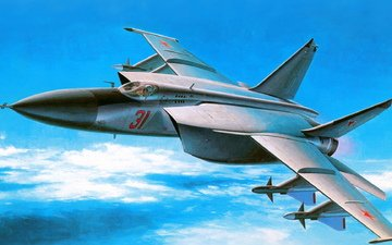art, supersonic, foxbat, soviet, the mig-25