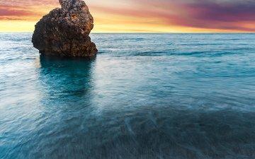 скала, рассвет, океан, греция, осторов, milos beach, lefkada