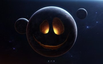 space, stars, lights, planet, smile