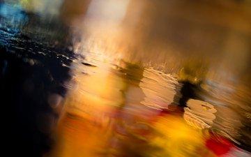 дорога, ночь, огни, вода, город, дождь, асфальт, боке