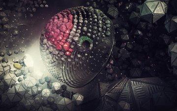 космос, абстракция, рендер, 3д, цифровое искусство