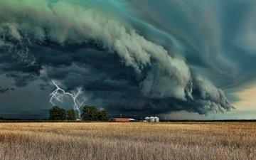storm, landscape, lightning, field, element