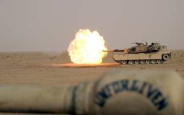 пламя, пустыня, огонь, выстрел, танк, m1a1, абрамс