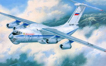 art, the plane, aviation, military, the il-76, transport