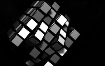 black, white, rubik's cube