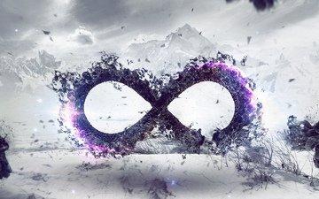 горы, символ, бесконечность, ветер, знак