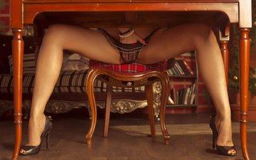 hand, girl, interior, table, panties, chair, legs, something lost
