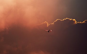 the sky, clouds, the plane