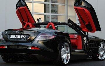 черный, красный, авто, автомобиль, кабриолет, сзади, слр макларен, мерседес-бенц