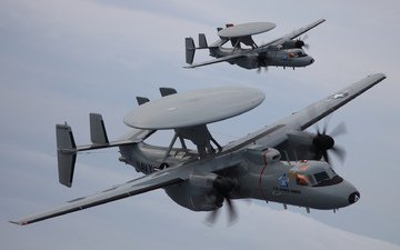 clouds, pair, e-2d, awacs aircraft, advanced hawkeye, northrop grumman