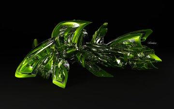 зелень, завитушка, 3d glass, serialism 2 0