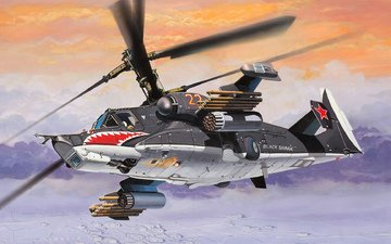 art, helicopter, soviet, black shark, ka-50