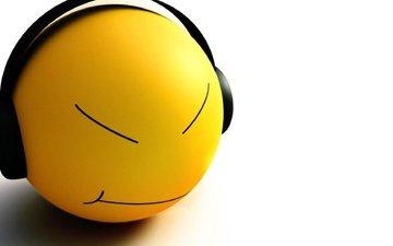 mood, headphones, smiley
