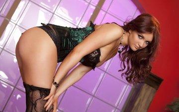 girl, panties, stockings, corset, beautiful, veronica ricci