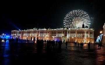 ночь, новый год, салют, санкт-петербург, зимний дворец