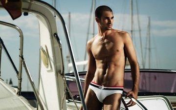 модель, яхта, мужчина, плавки