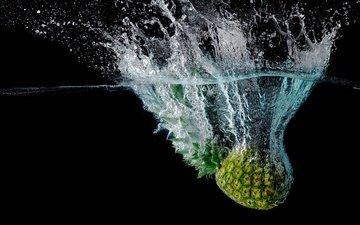 вода, макро, брызги, черный фон, фрукт, ананас