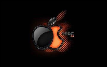 фон, черный, логотип, мак, яблоко, брэнд, ос