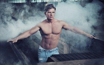 взгляд, парень, дым, джинсы, тело, пресс, торс