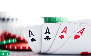покер, фишки, карты, тузы