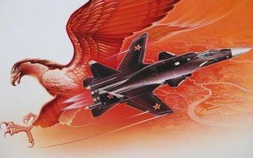art, fighter, su-47