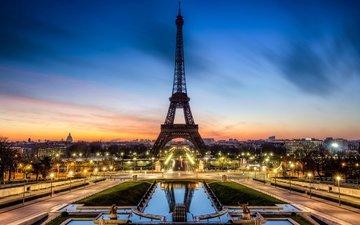 вечер, париж, франция, эйфелева башня, la tour eiffel, франци
