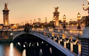 париж, франция, мост александра iii, франци