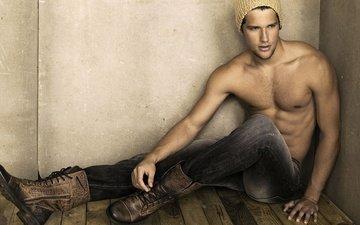 парень, джинсы, обувь, шапочка, arthur sales