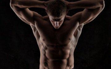 мужчина, тело, тени, пресс, торс, сила, мускулы
