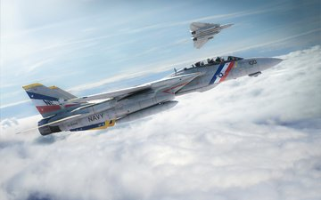 the sky, the plane, fighter, f-14, tomcat