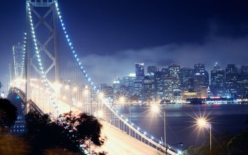 сан-франциско, калифорния, bay bridge, ноч, сан - франциско, калифорнийская