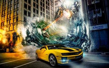 вода, машина, город, робот, трансформеры, шевроле, камаро