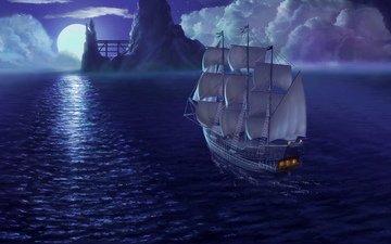 небо, ночь, море, корабль, луна, рендеринг, паруса