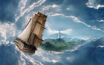 облака, маяк, aбстракции, парусные корабли