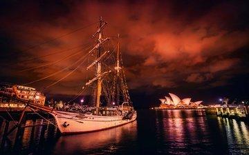 ночь, парусник, сидней, австралия, бухта, сиднейский оперный театр