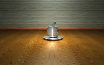 дерево, стена, пол, лого, метал, hi-tech, эппл