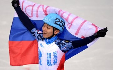 flag, olympics, gold medal, sochi 2014, viktor ahn, five-time champion, olympic games