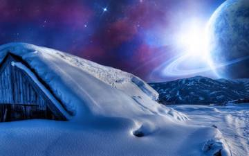 the sky, night, mountains, snow, planet, star, house